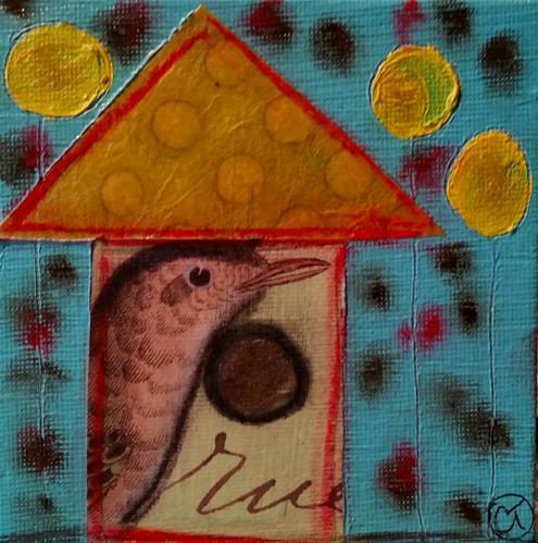 """Bird House 7 House # 151"" original fine art by Christy Tremblay"