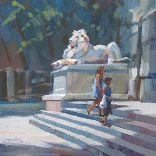 """Patience the Lion at NY Public Library"" original fine art by Patti Mollica"