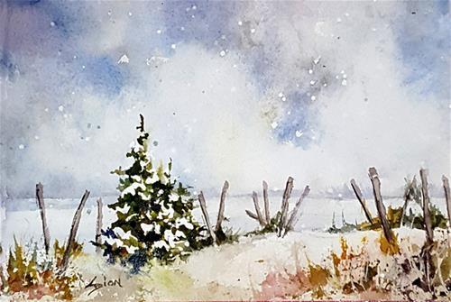 """Snow on the Beach"" original fine art by Sue Dion"