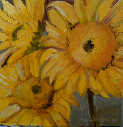 """sunflower faces"" original fine art by Jo Allebach"