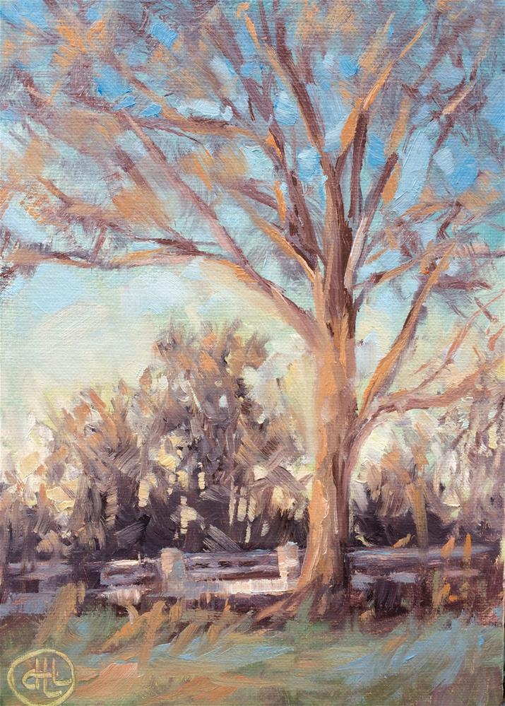 """winter twilight"" original fine art by Dottie  T  Leatherwood"