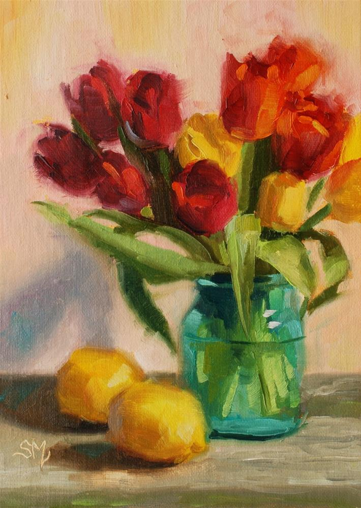 """No. 575 Tulips on a Fence"" original fine art by Susan McManamen"