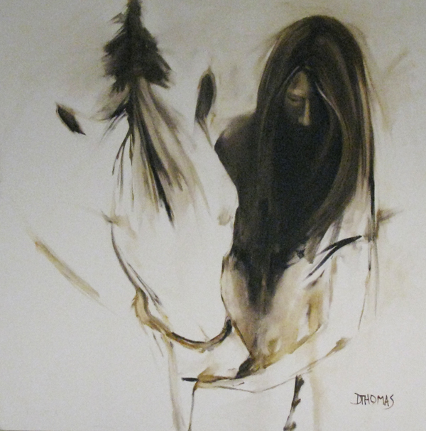 """Girl with White Horse"" original fine art by Donna Thomas"