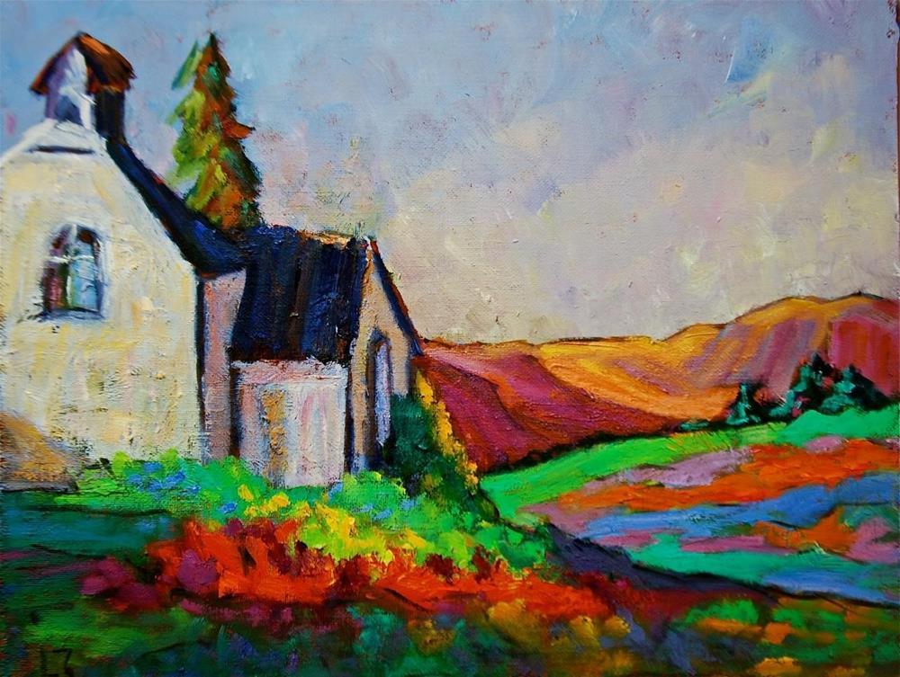 """""""Rocky Mountain Church"""" original fine art by Liz Zornes"""