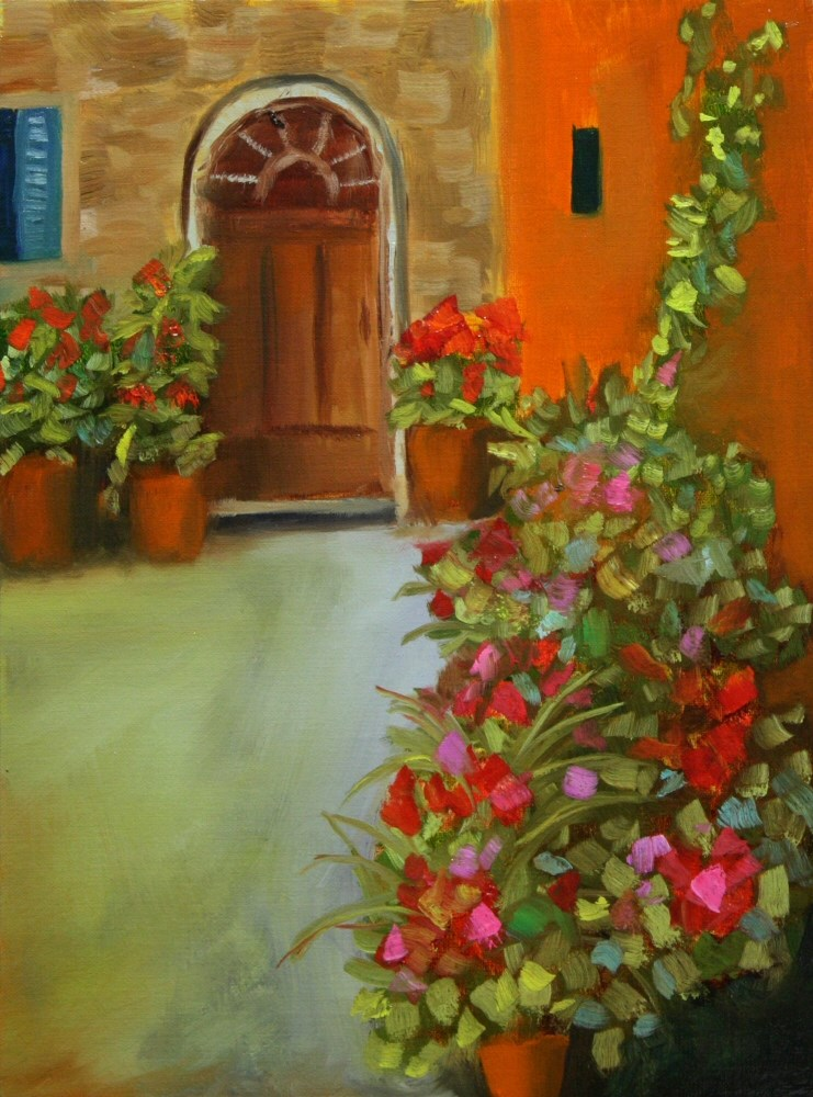 """141106 - Courtyard 01a 12x9 oil on linen panel Dave Casey - The Daily Painter"" original fine art by Dave Casey"