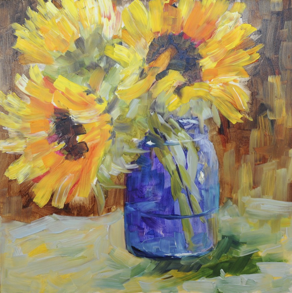 """Sunflower Study #1"" original fine art by Sue Churchgrant"