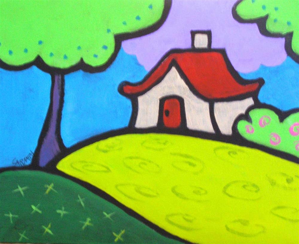 """Red Roof Cottage, 10x8 Original Acrylic on Panel"" original fine art by Carmen Beecher"