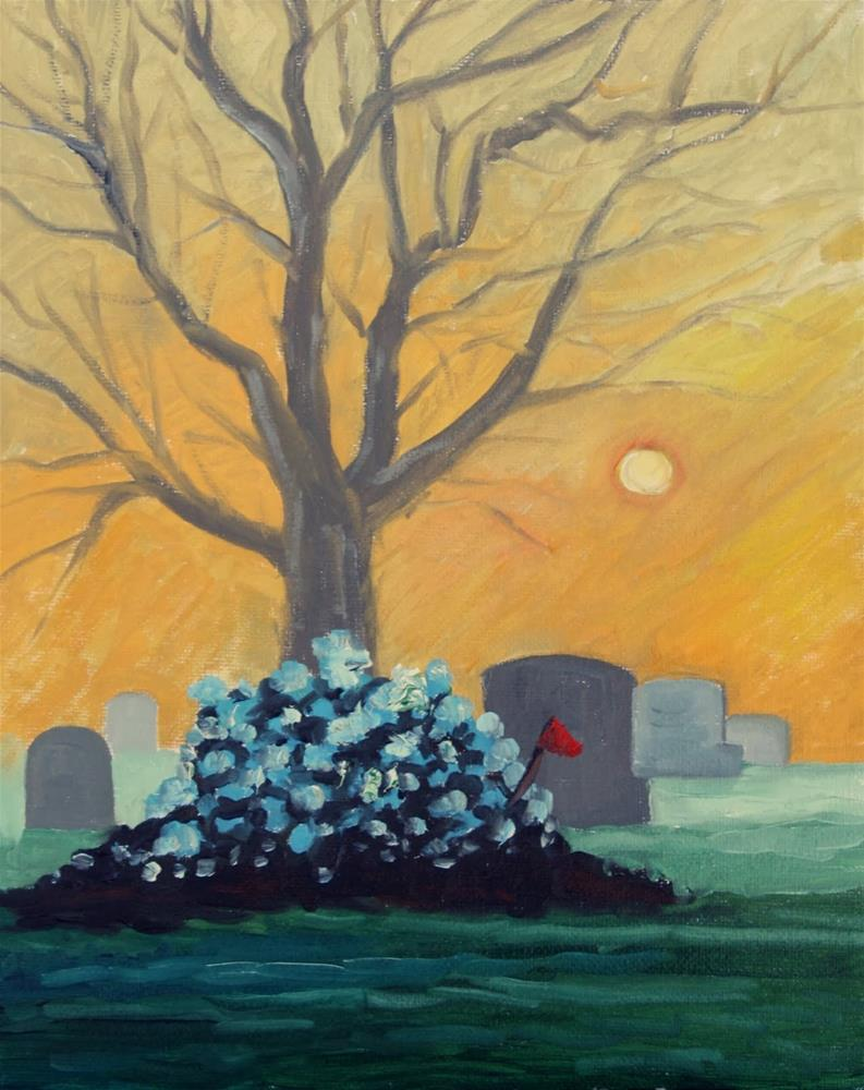 """Fresh grave in pale winter sunlight"" original fine art by Hilary J. England"