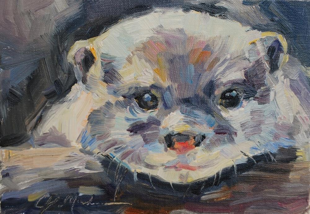 """Otter Painting, original Oil By Carol DeMumbrum"" original fine art by Carol DeMumbrum"