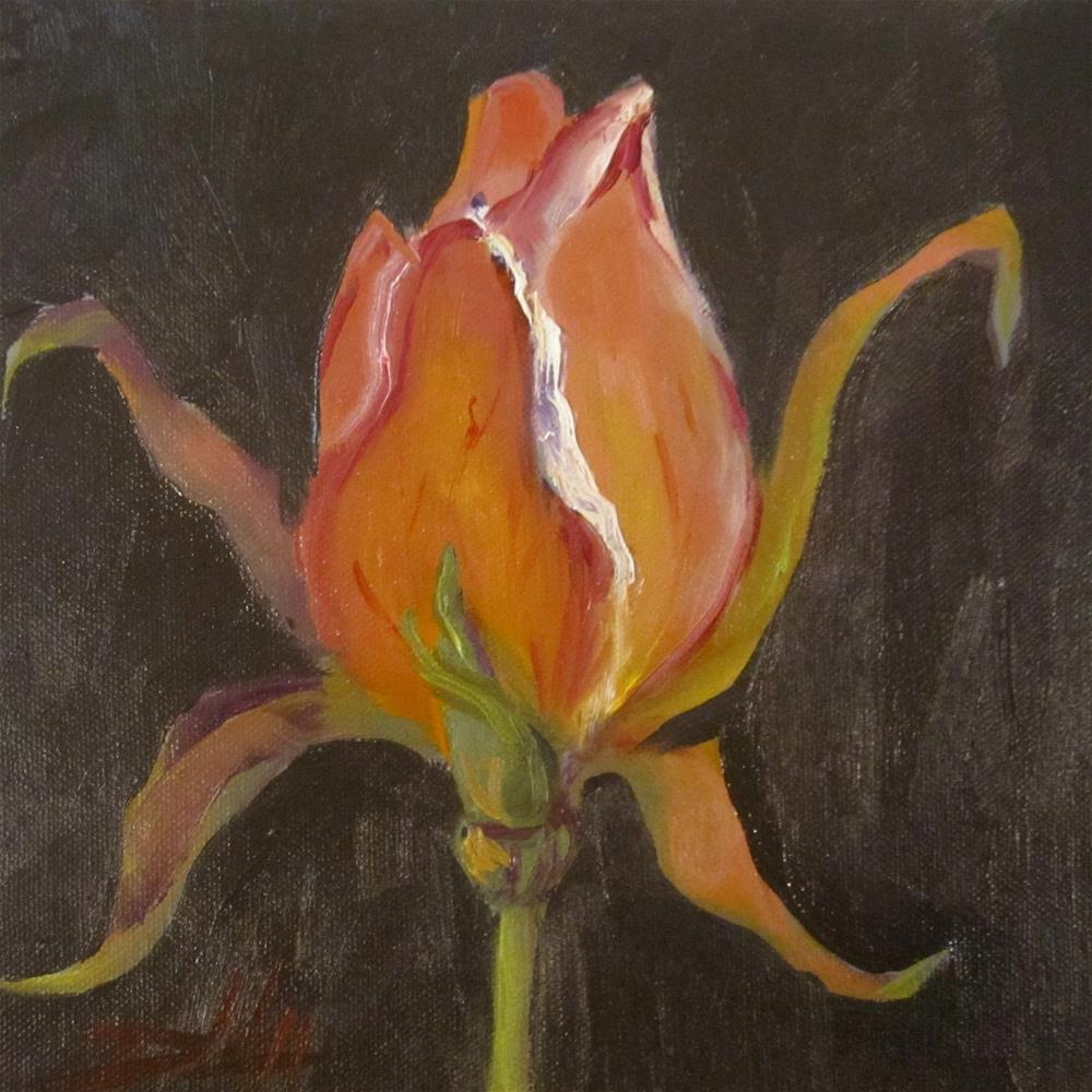 """Pink Rose Bud"" original fine art by Delilah Smith"
