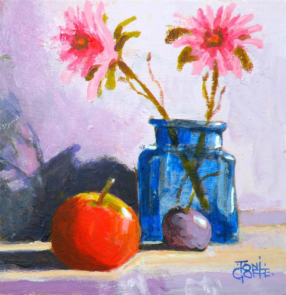 """Flowers and Apple"" original fine art by Toni Goffe"