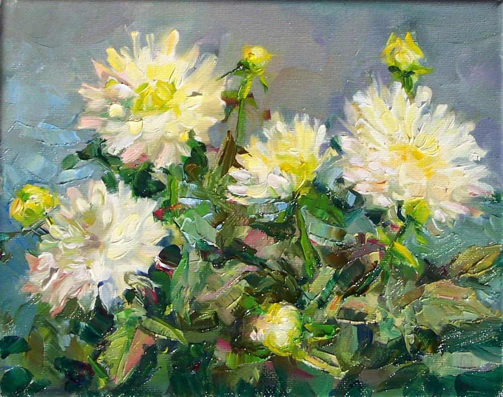 """White Dahlias,still life, oil on canvas,8x10,price$250"" original fine art by Joy Olney"
