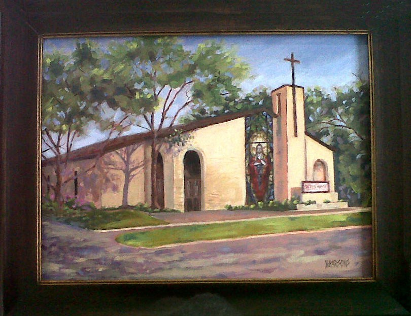 """Sacred Heart Church"" original fine art by Nancy Parsons"