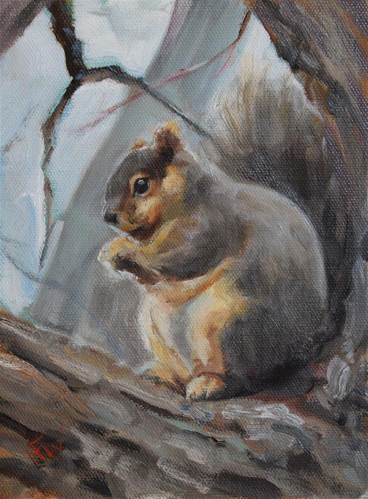 """Fat Squirrel"" original fine art by H.F. Wallen"