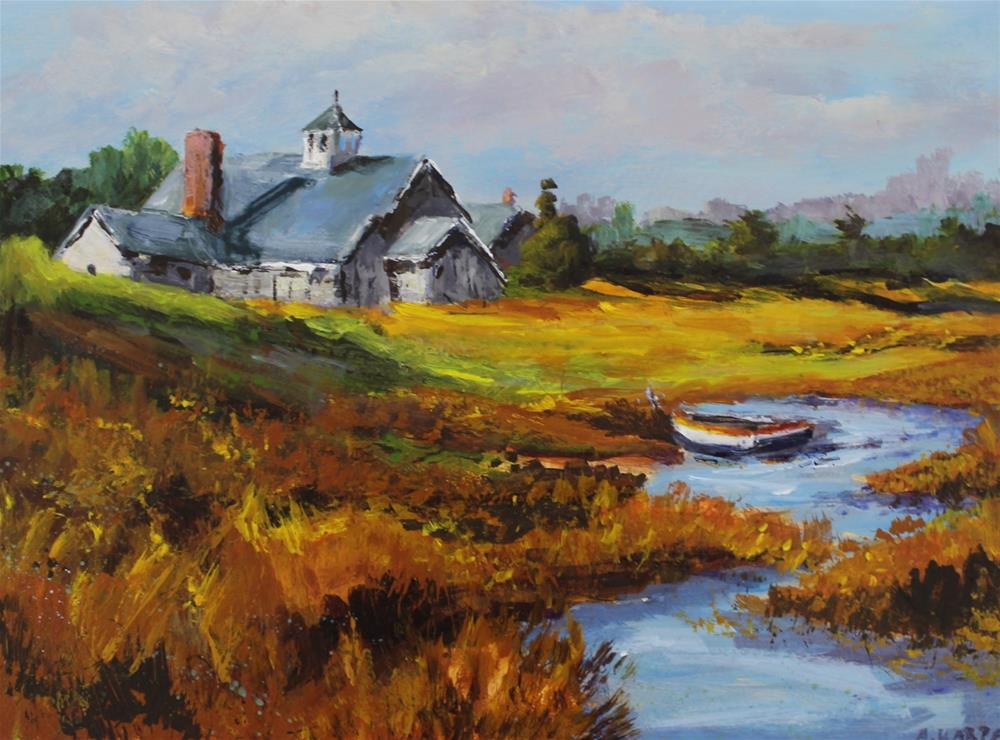"""Original acrylic marsh landscape boat church coastline painting"" original fine art by Alice Harpel"