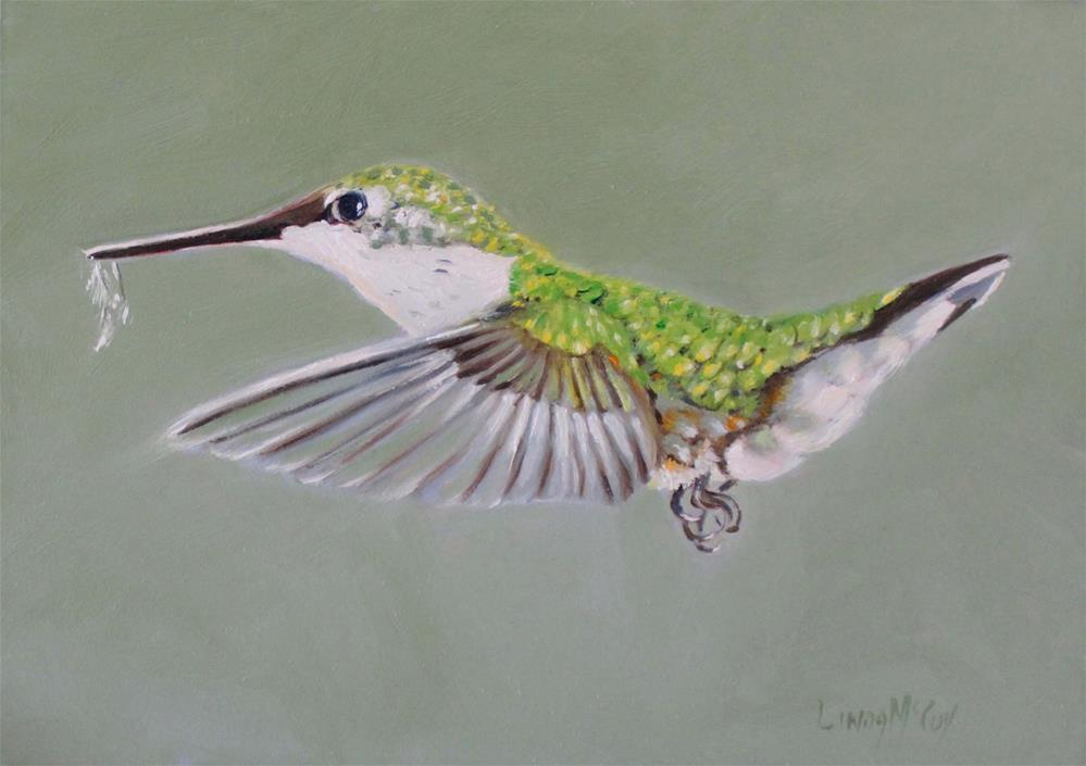 """Adorn, Hummingbird in Flight, Linda McCoy"" original fine art by Linda McCoy"