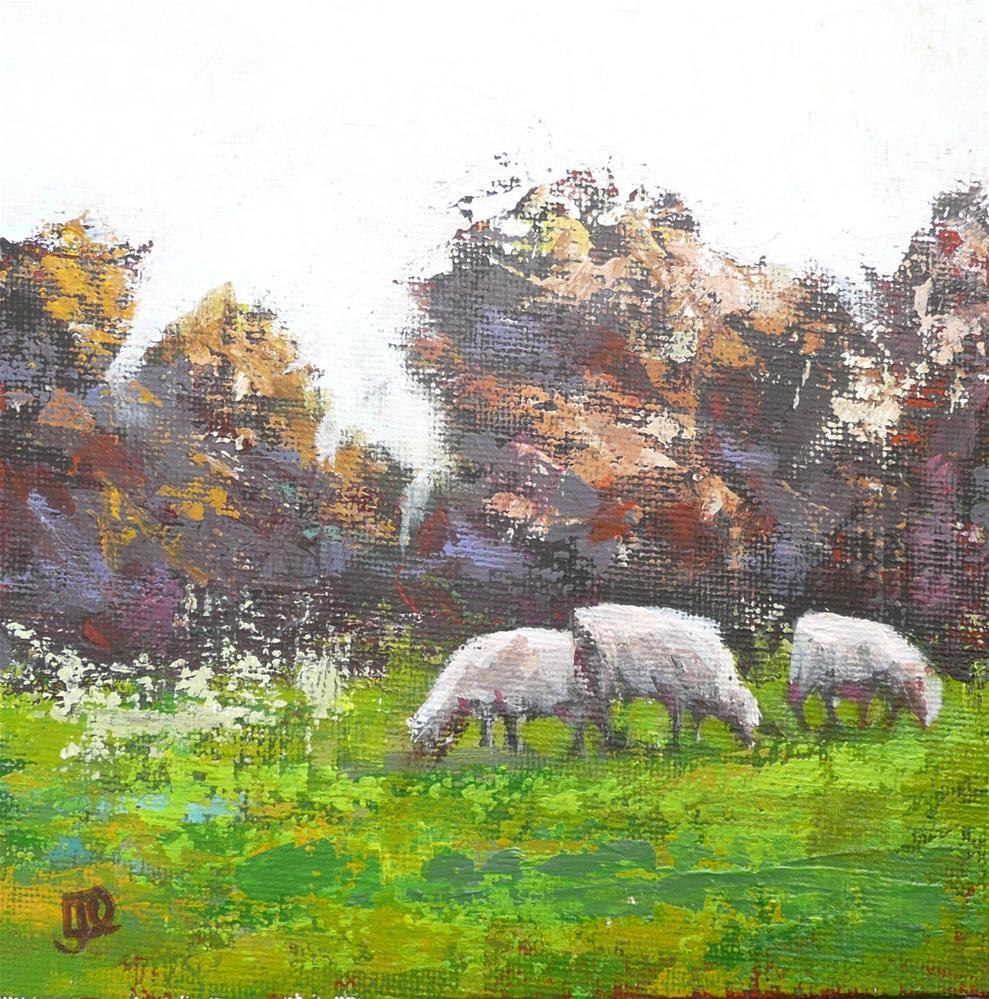 """Three Sheep Grazing"" original fine art by Leanne Owen"