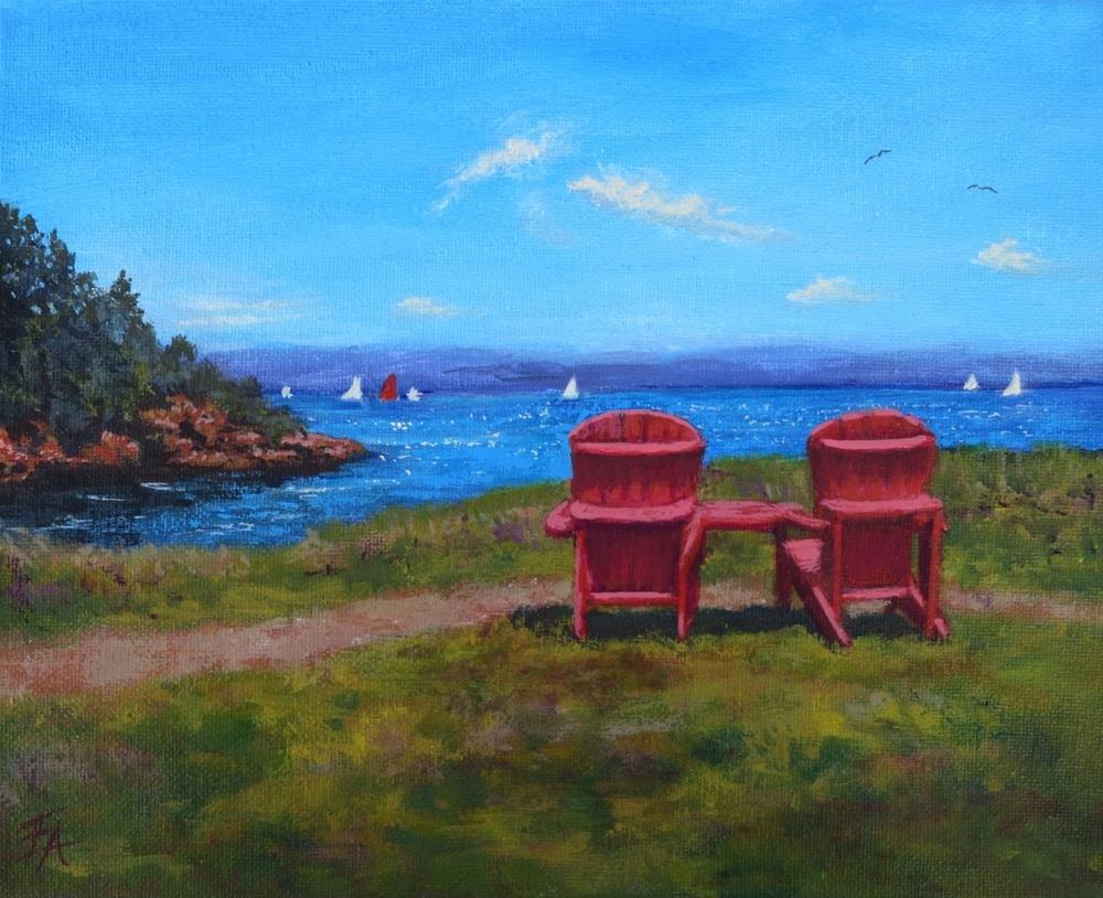 """Red Chair Afternoon (half price)"" original fine art by Elizabeth Elgin"