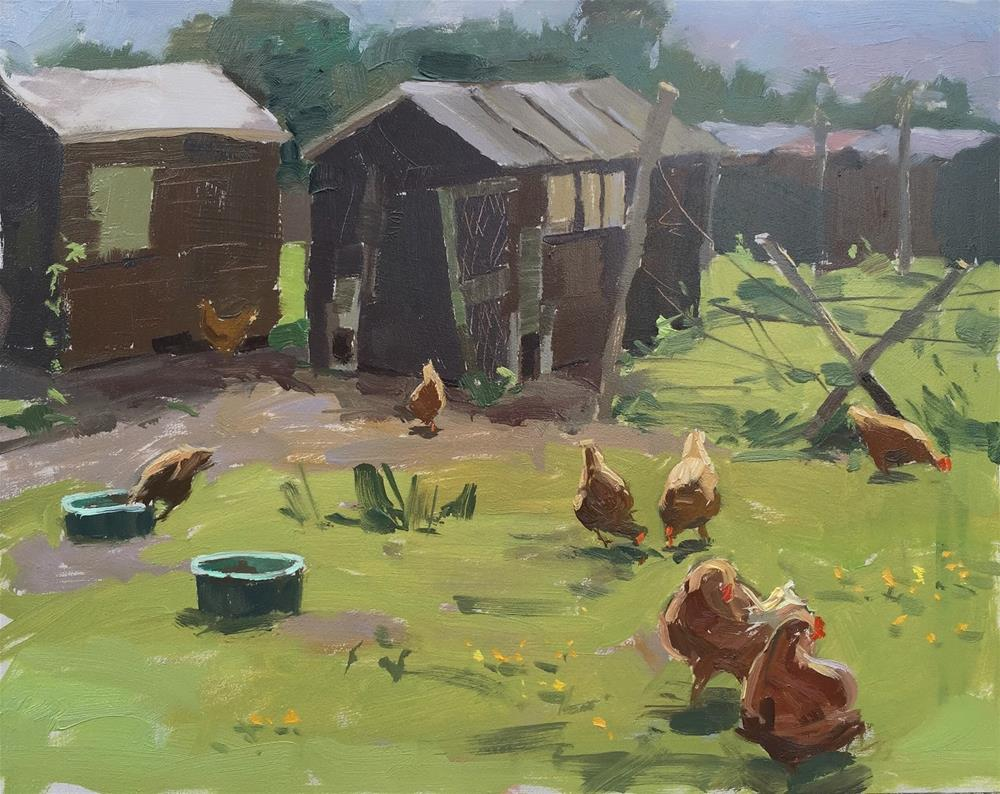 """Sunny afternoon with the hens"" original fine art by Haidee-Jo Summers ROI"