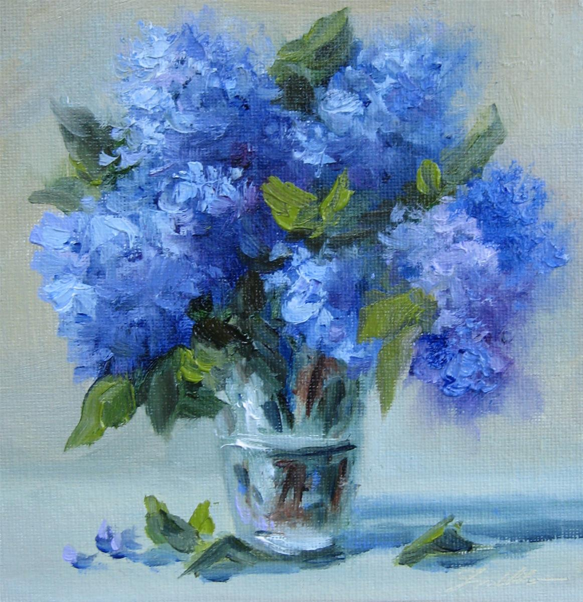 """Flower Study #26 Blue Hydrangeas in a glass vase"" original fine art by Pat Fiorello"