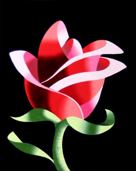 """Mark Webster Artist - Abstract Geometric Rose #2 Still Life Painting"" original fine art by Mark Webster"
