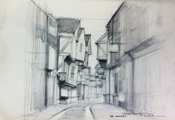 """The Shambles, York"" original fine art by Adebanji Alade"