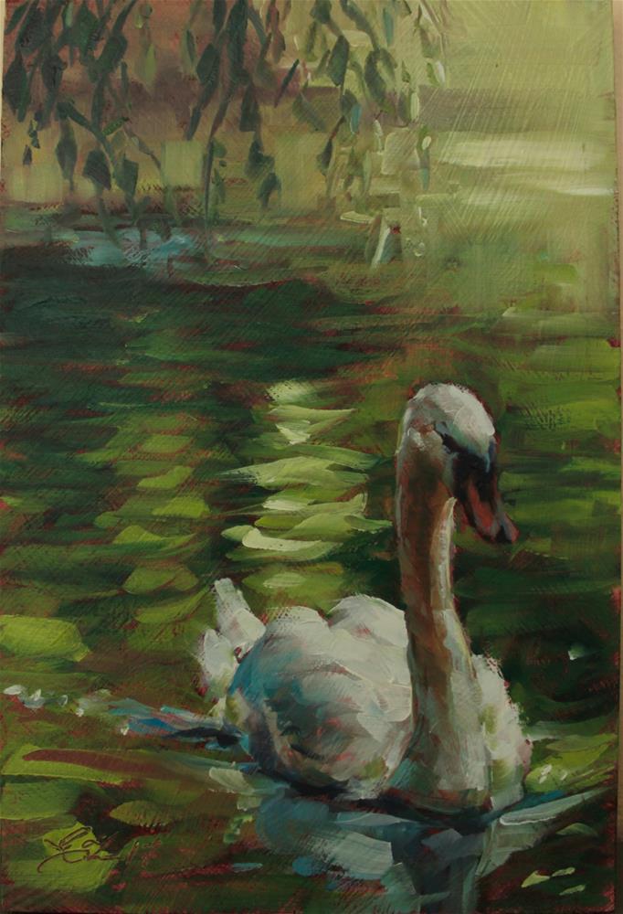 """Swan On a Green River"" original fine art by Emilia Leinonen"