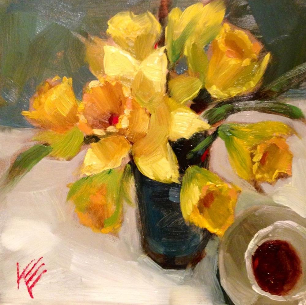 """""""Espresso & daffodils"""" original fine art by Krista Eaton"""