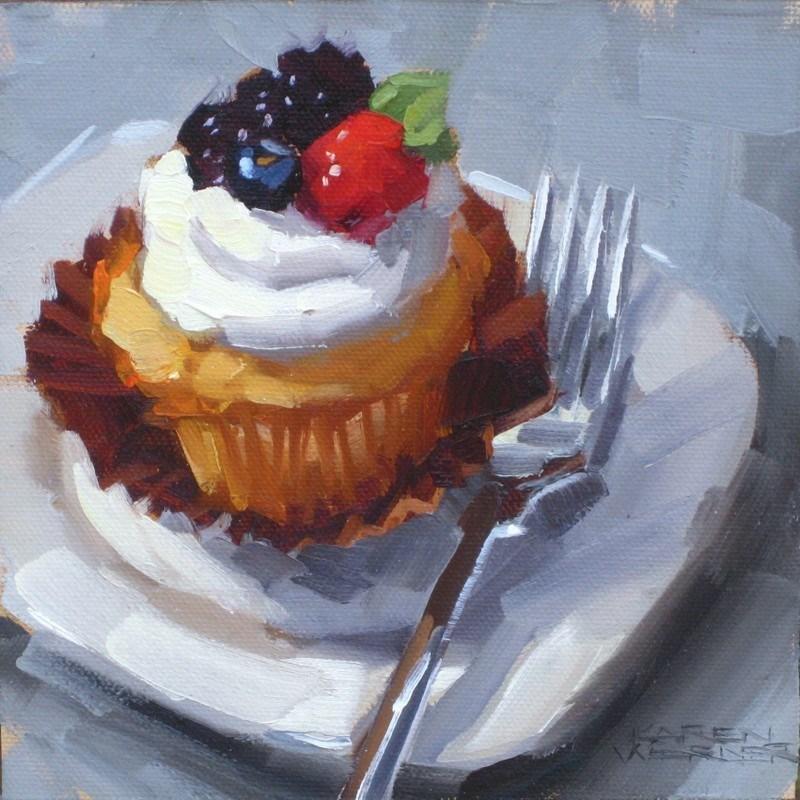 """""""Cupcake"""" original fine art by Karen Werner"""
