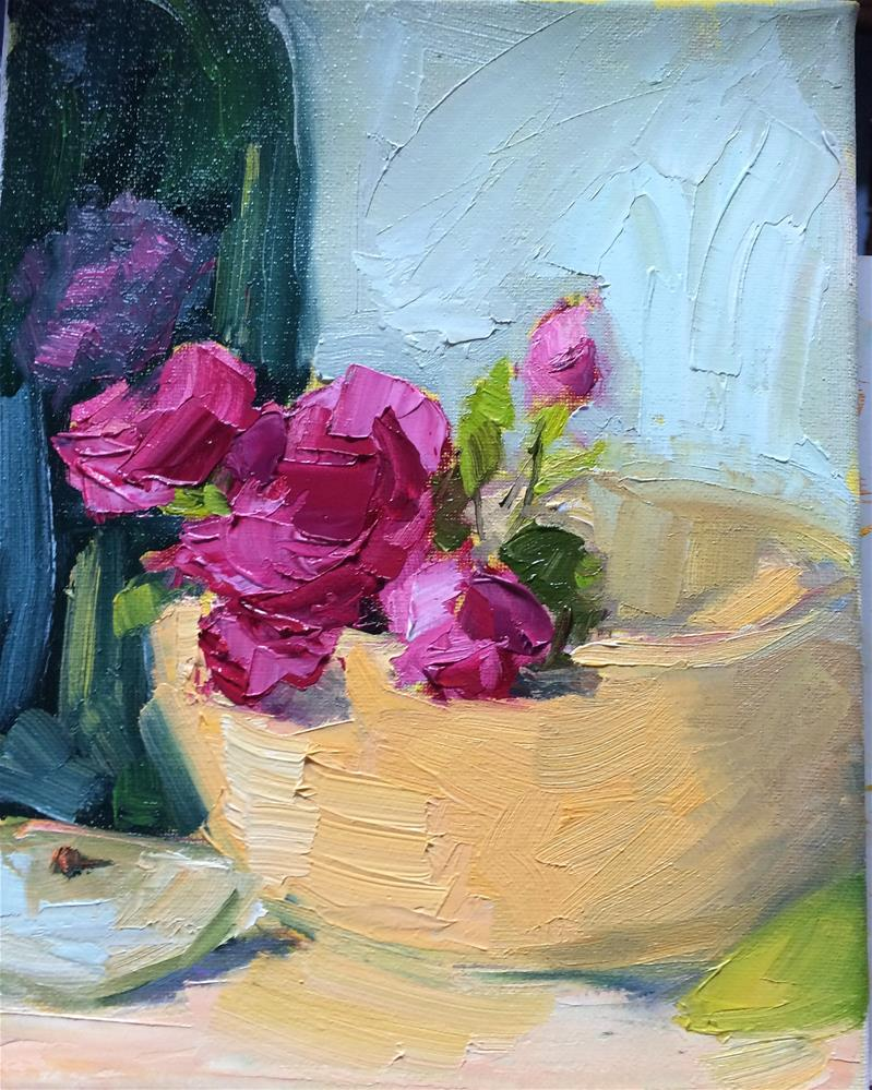 """Pink Flowers in a Bowl"" original fine art by Naomi Bautista"