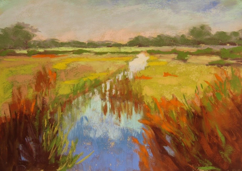"""Sketch, Buckenham Marsh"" original fine art by Ruth Mann"