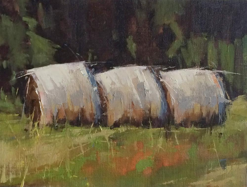"""Three Bales and Exhibit Inclusion"" original fine art by Julie Davis"