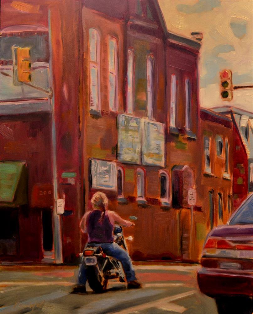 """Biker on Penn Street"" original fine art by Karen Weber"
