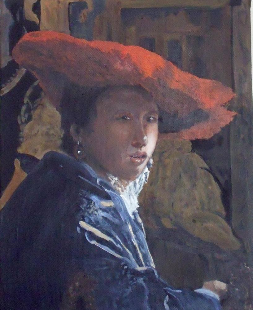 """Girl With A Red Hat  - Vermeer"" original fine art by Nelvia McGrath"