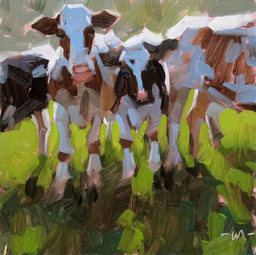 """Cozy Cows"" original fine art by Carol Marine"