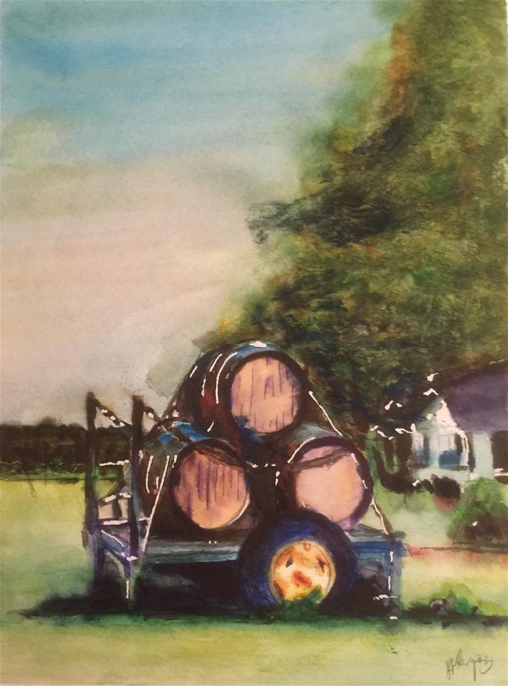 """Wine Barrels in the Farm"" original fine art by Juan Velasquez"