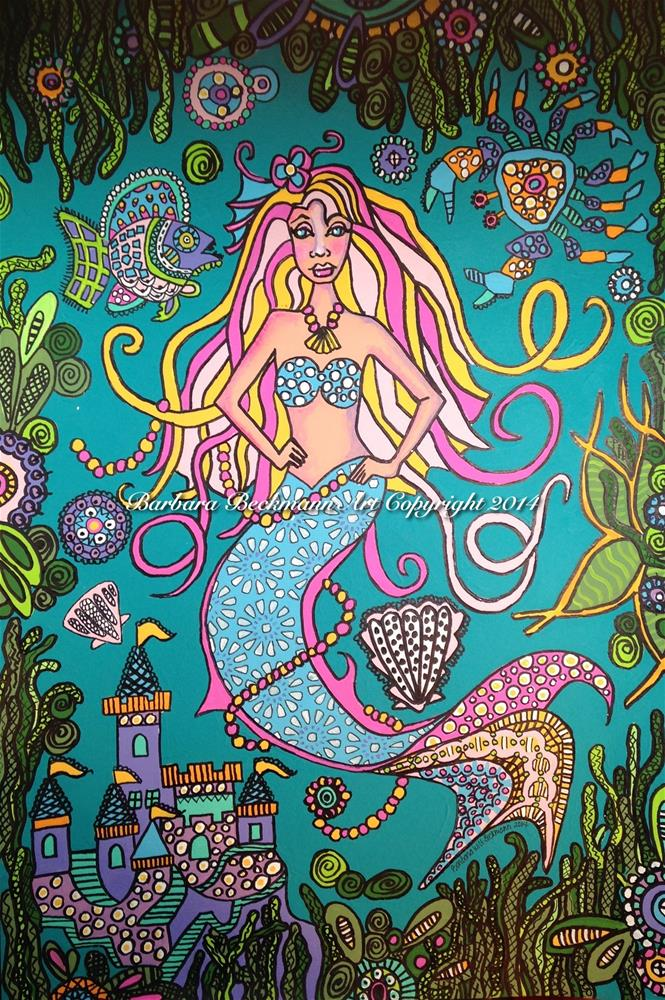 """Mermaid zentangle (three of three paintings in this series)"" original fine art by Barbara Beckmann"
