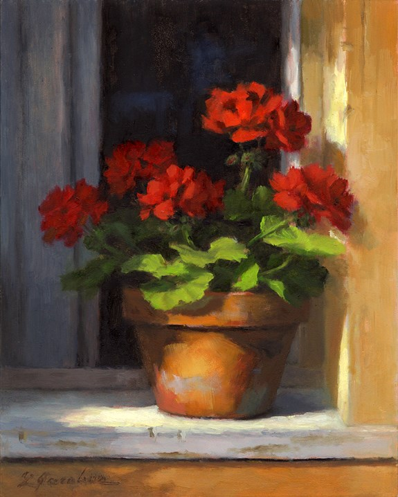"""Geraniums on Sill"" original fine art by Linda Jacobus"