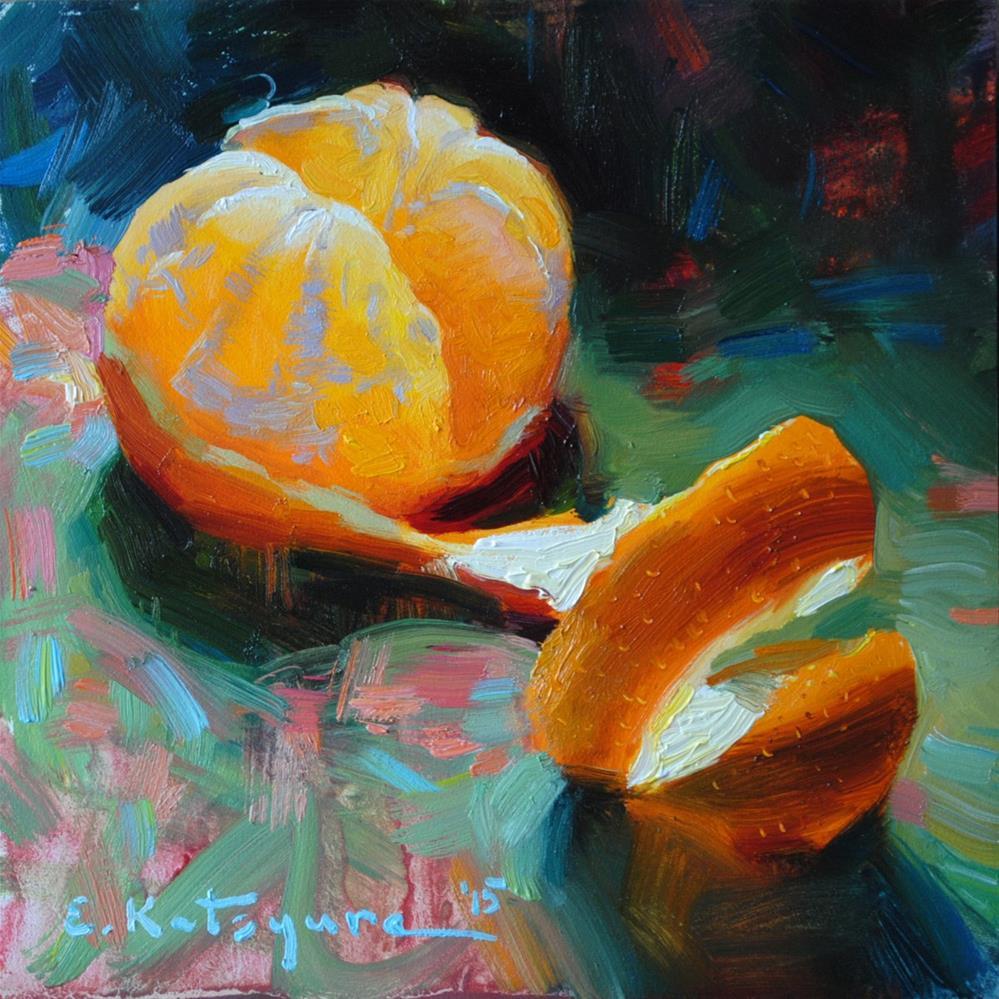 """Citrus on Green"" original fine art by Elena Katsyura"