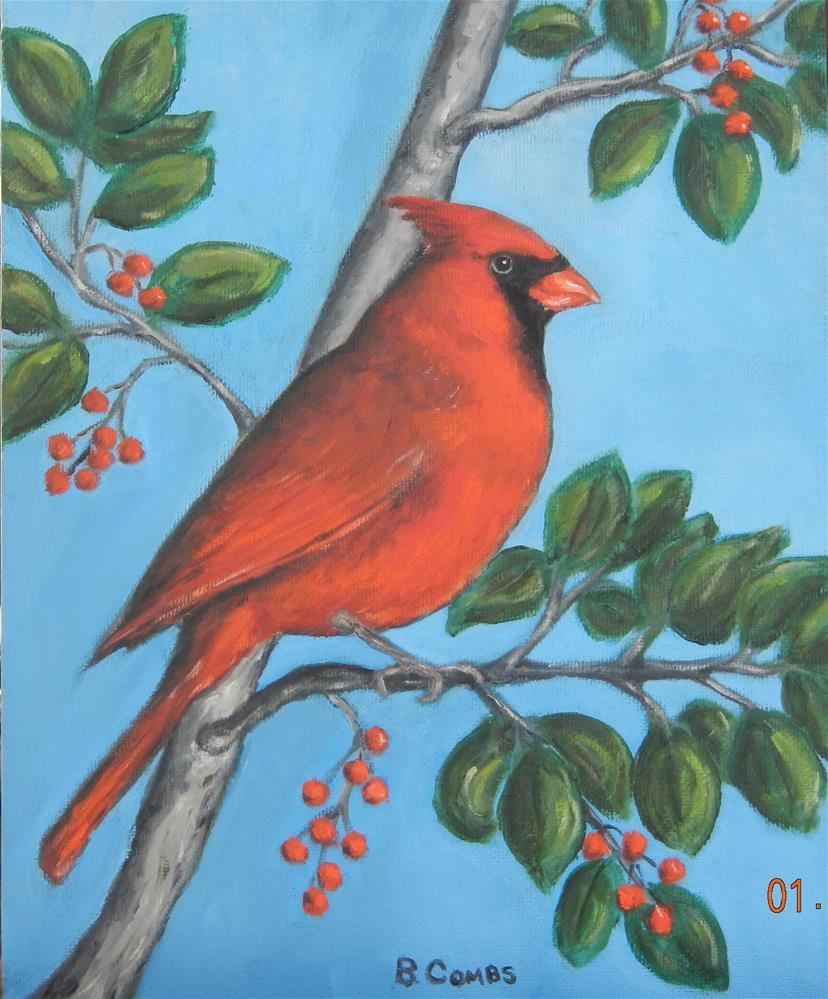 """Male Cardinal"" original fine art by Bebe Combs"
