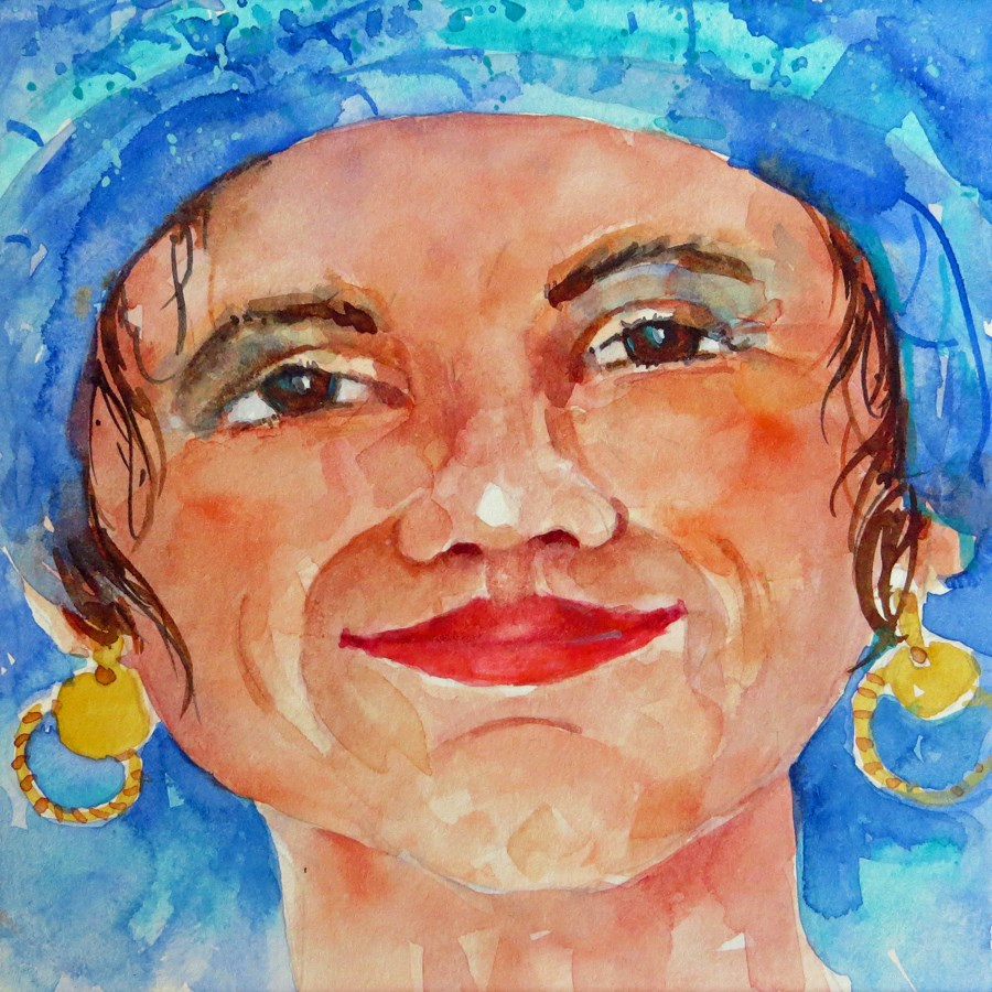 """Turquoise Hat"" original fine art by Suzy 'Pal' Powell"