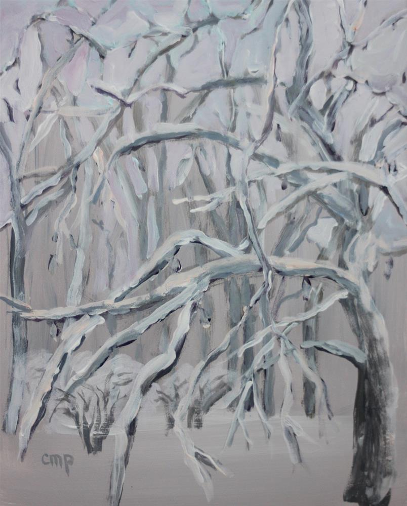 """Trees in Snow"" original fine art by Christine Parker"