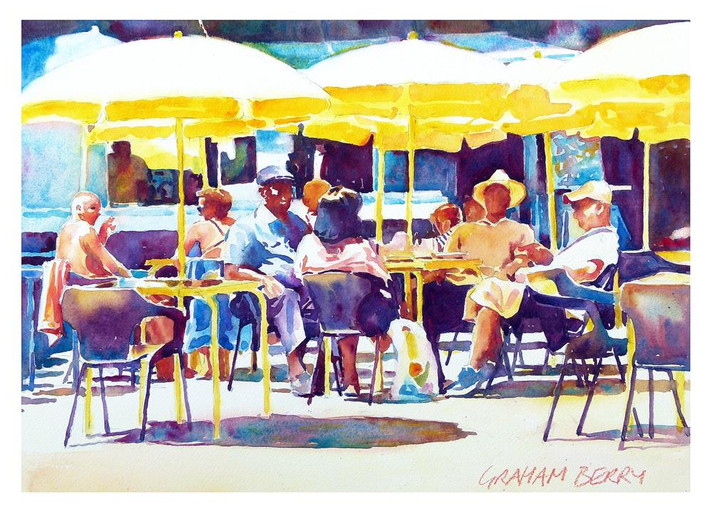 """Yellow parasols"" original fine art by Graham Berry"