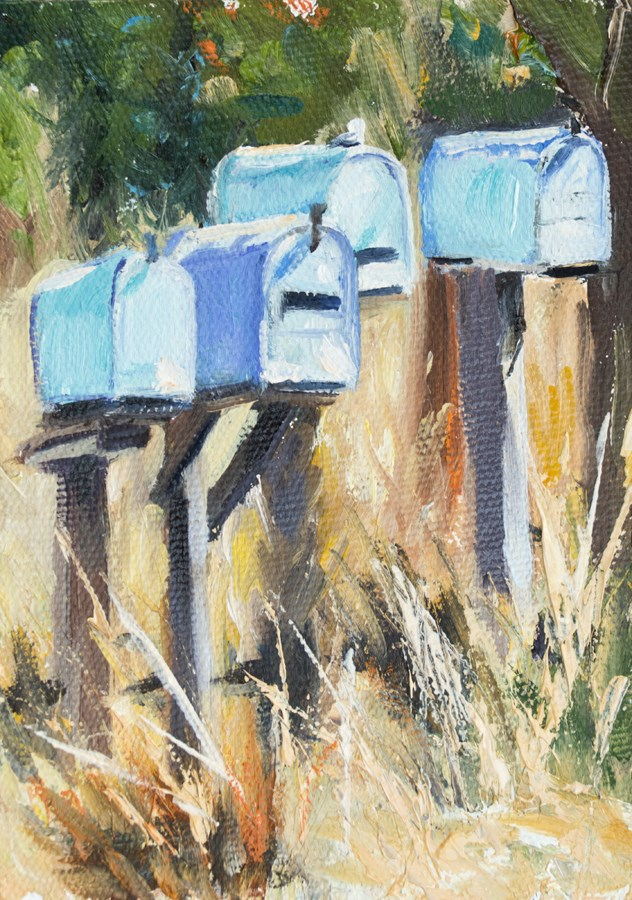 """KMD2895 Keenly Awaiting by Colorado artist Kit Hevron Mahoney (7x5 original oil landscape)"" original fine art by Kit Hevron Mahoney"