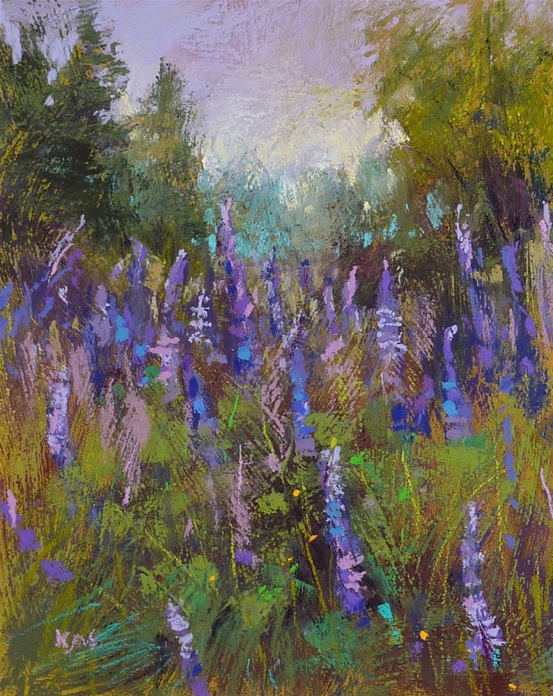 """Monday Pastel Demo....Painting Lupines on a Reclaimed Surface"" original fine art by Karen Margulis"