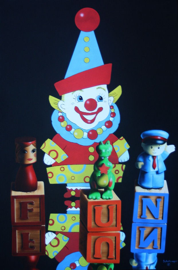 """Clowns Are Fun"" original fine art by Fred Schollmeyer"