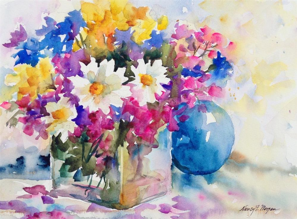 """Bouquet With Blue Ball"" original fine art by Nancy F. Morgan"