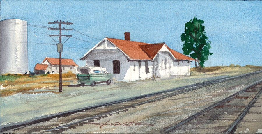 """Old Train Depot"" original fine art by Rafael DeSoto Jr."