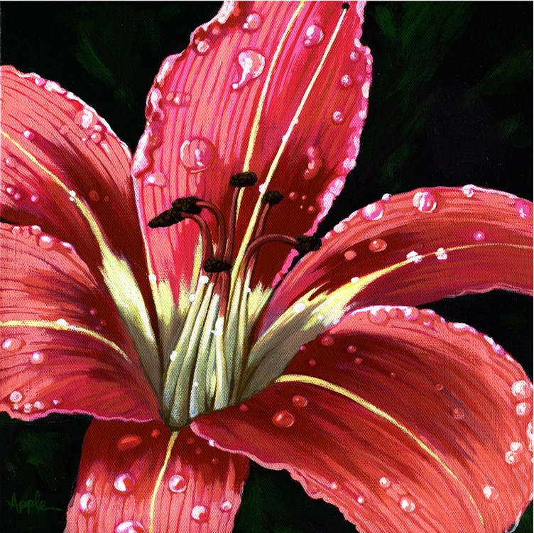 """Daylily after the rain, realistic floral painting"" original fine art by Linda Apple"