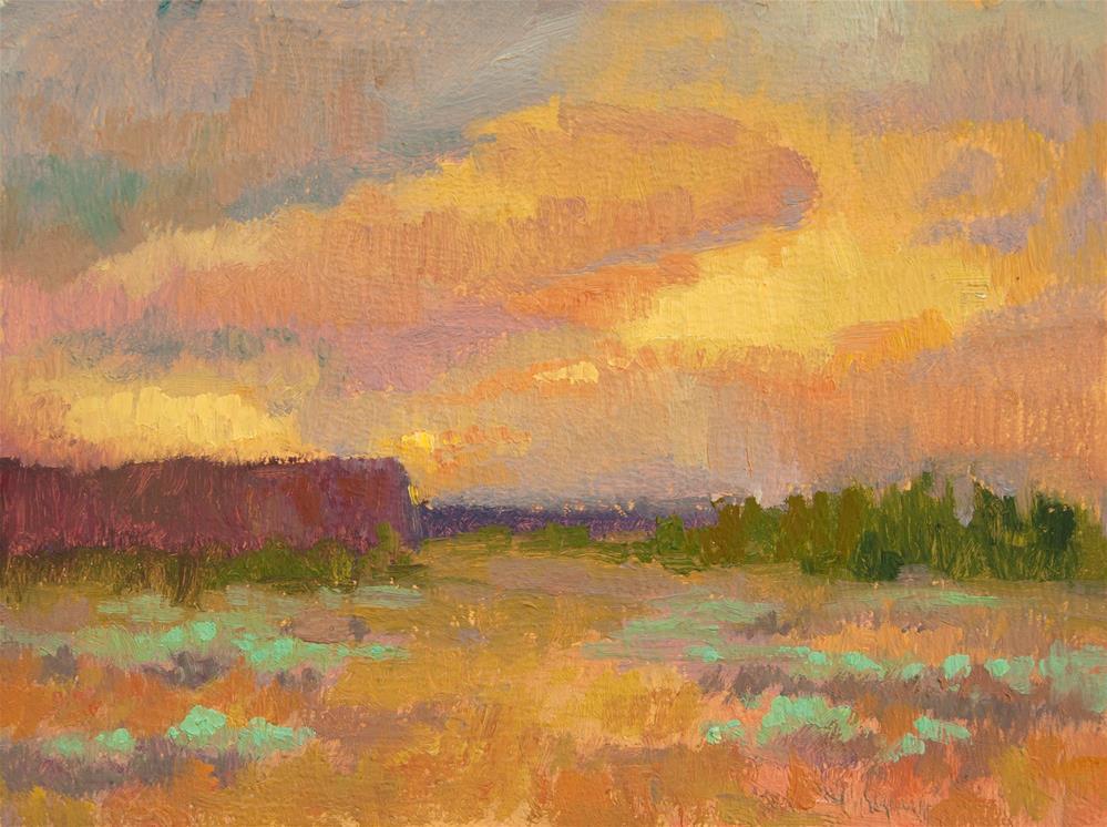 """CROOKED RIVER RANCH SUNSET"" original fine art by Karen E Lewis"